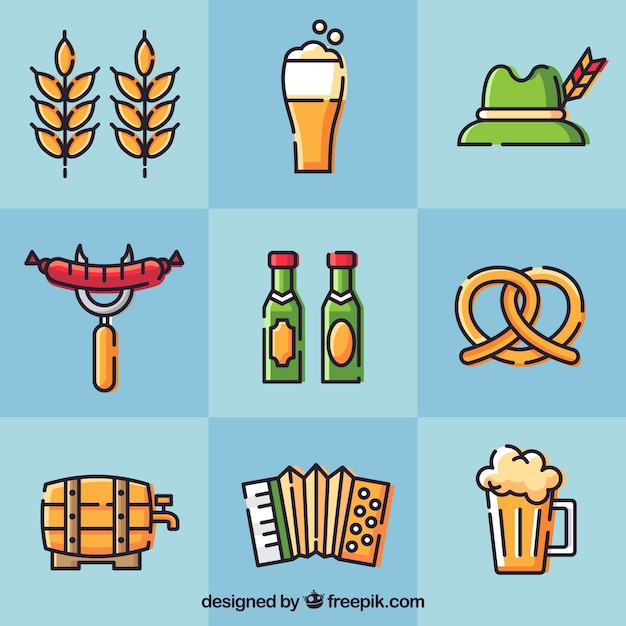 Hand drawn and modern oktoberfest elements