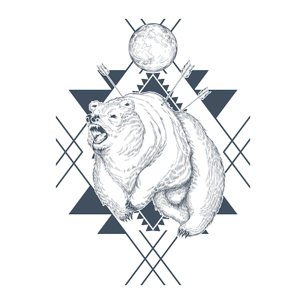 Hand drawn angry bear, planet in abstract geometric shapes, wounded beast by arrows. Free Vector