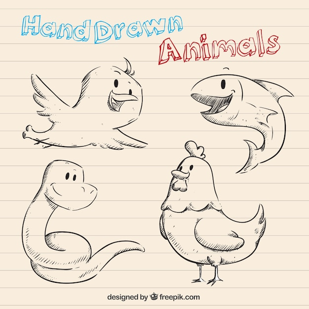 Hand drawn animals in cartoon style