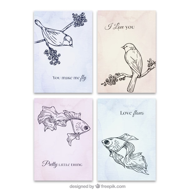 Hand drawn animals love cards set