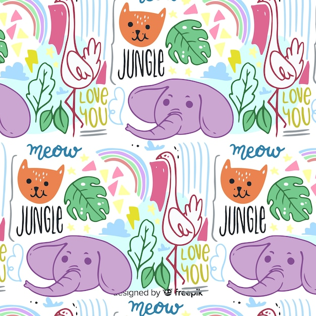 Hand drawn animals and words pattern Free Vector