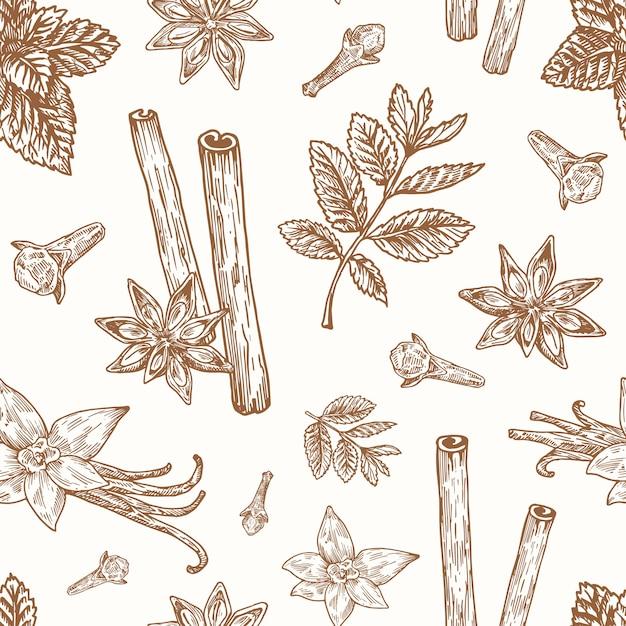 手描きのアニス、ミント、シナモン、クローブ、バニラのベクトルのシームレスな背景パターン 無料ベクター