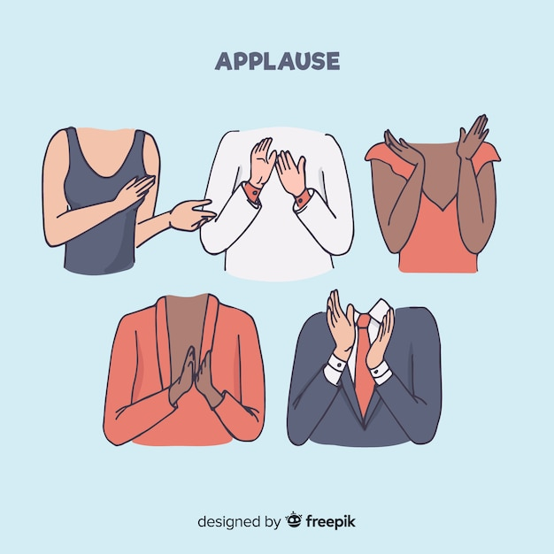 Hand drawn applause collection Free Vector