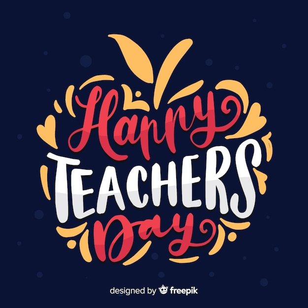 Hand drawn apple shaped world teachers'day lettering Free Vector