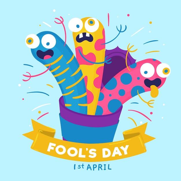 Нарисованная рукой иллюстрация дня дурачков в апреле с смешными греет Бесплатные векторы