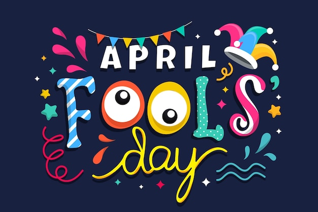 Hand drawn april fools' day lettering Free Vector