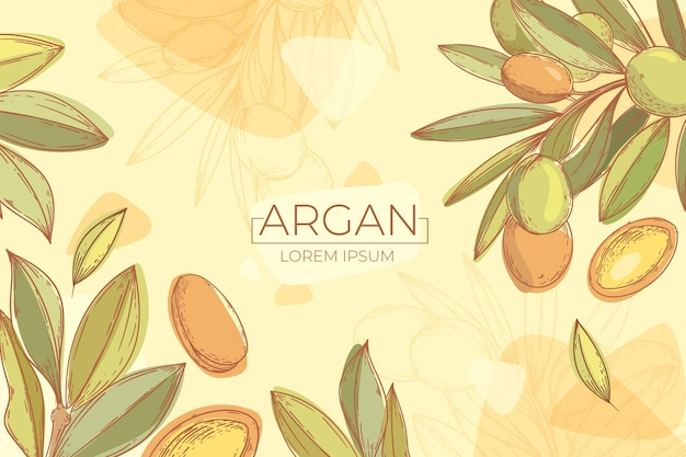 Hand drawn argan oil background Free Vector
