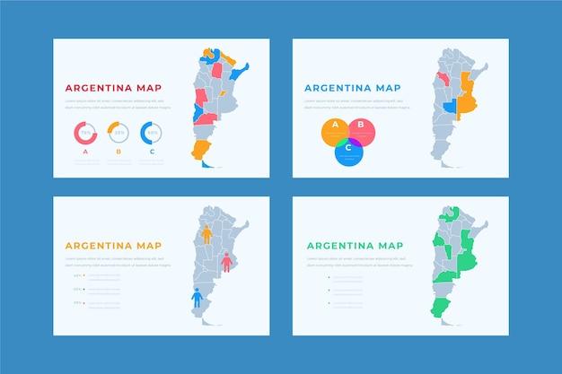 손으로 그린 아르헨티나지도 infographic 무료 벡터
