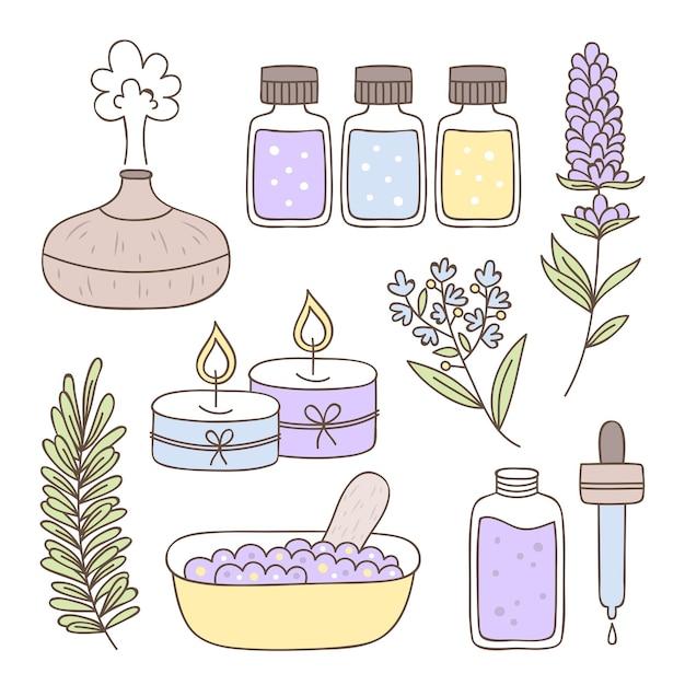 Insieme di elementi di aromaterapia disegnati a mano Vettore gratuito