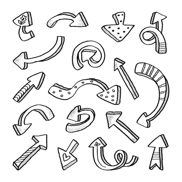 Hand drawn arrow collection Free Vector