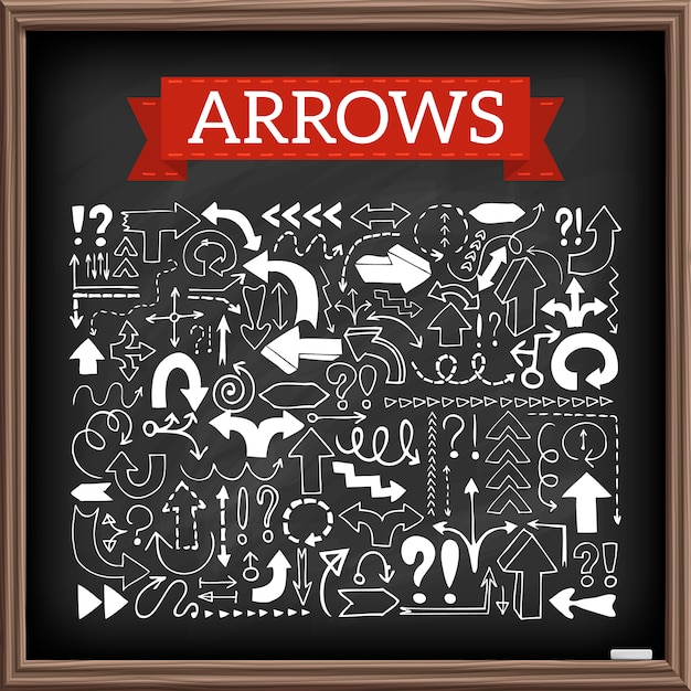 Hand drawn arrow icons set with question and exclamation marks with chalkboard effect. vector illustration. Premium Vector