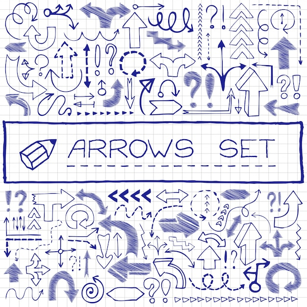 Hand drawn arrow icons with question and exclamation marks. Premium Vector