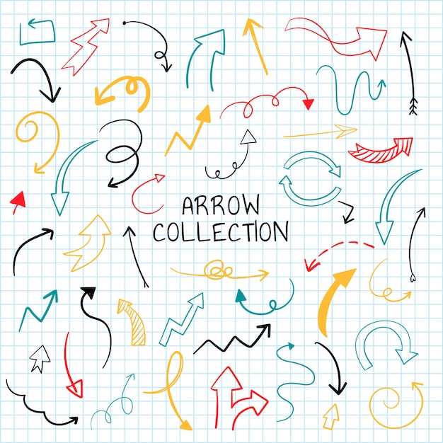 Hand drawn arrow illustration collection Free Vector