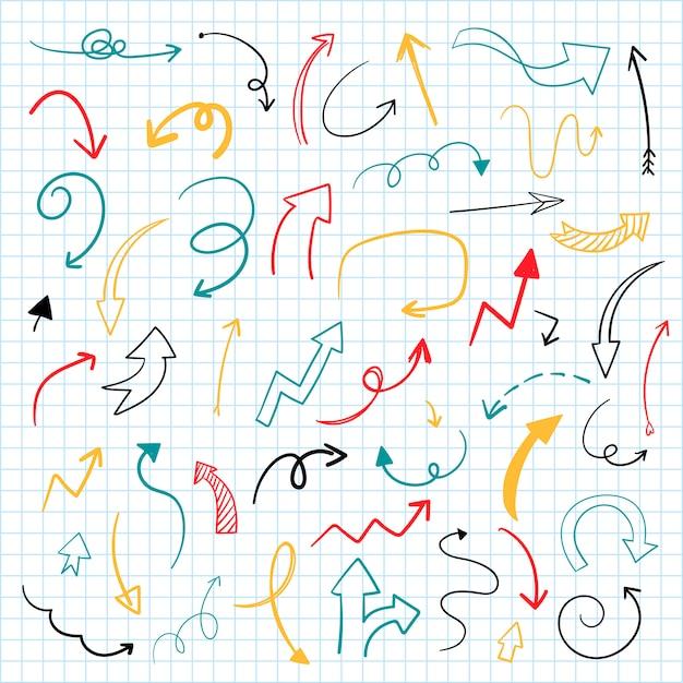 Collezione di illustrazione freccia disegnata a mano Vettore gratuito
