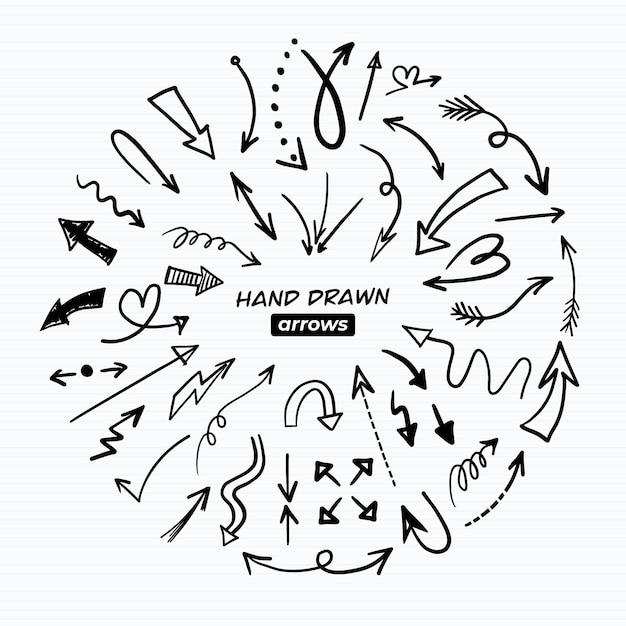 Hand drawn arrow pack Free Vector