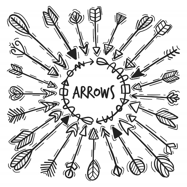 Hand drawn arrow set Premium Vector