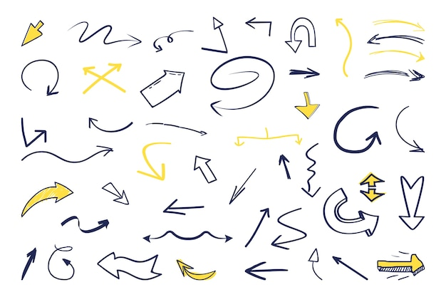 Hand drawn arrow set Free Vector