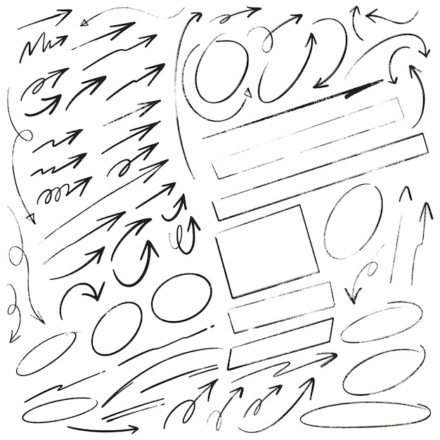 Hand drawn arrows circles and rectangles doodle writing set Premium Vector