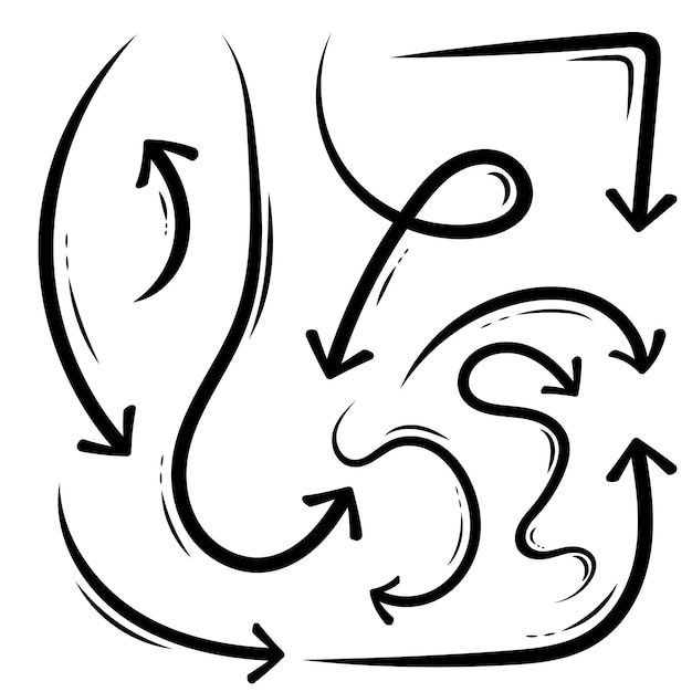 Hand drawn arrows, grunge sketch handmade doodle. Premium Vector