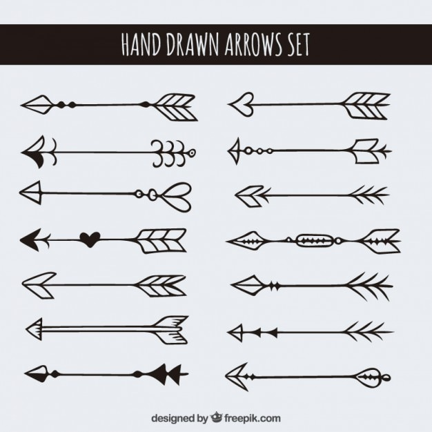 Drawing Lines With Arrows In Photo : Hand drawn arrows set vector free download