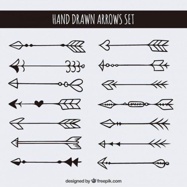 Line Art Arrow : Hand drawn arrows set vector free download