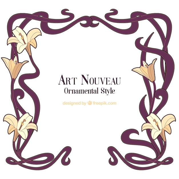 Hand drawn art nouveau floral frame Vector | Free Download