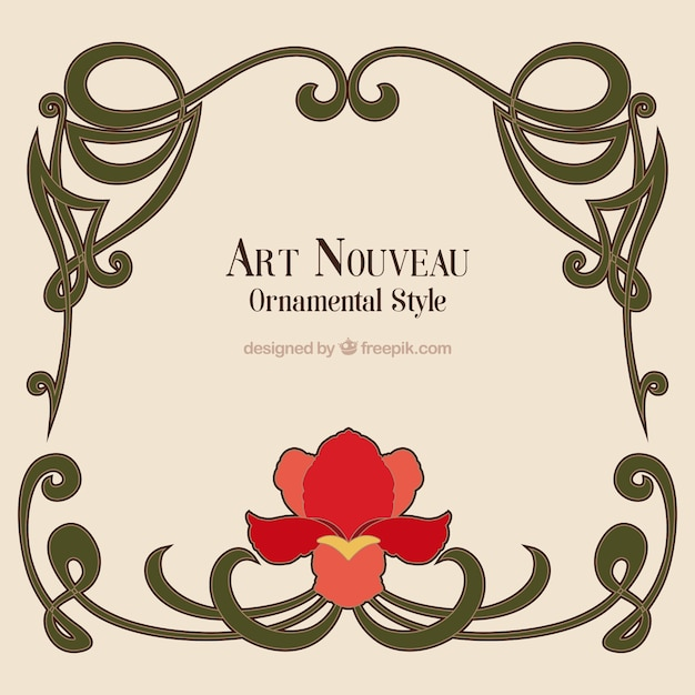 Hand drawn art nouveau frame with a flower Vector | Free Download