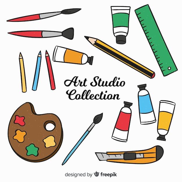 Hand drawn art studio element collection Free Vector