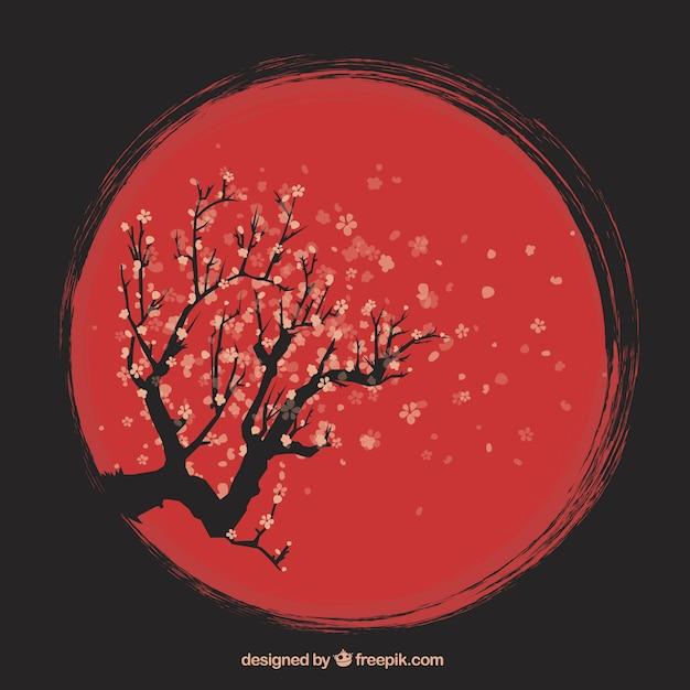 手描き芸術的な桜の背景 Premiumベクター