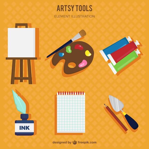 Hand drawn artsy tools Free Vector