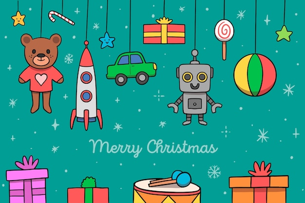 Hand drawn assortment of christmas toys Free Vector