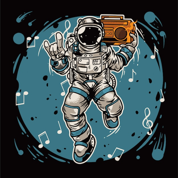 Hand drawn astronaut holding radio and dancing in the space Premium Vector