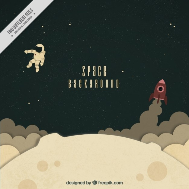 Hand drawn astronaut with rocket on the moon background Free Vector