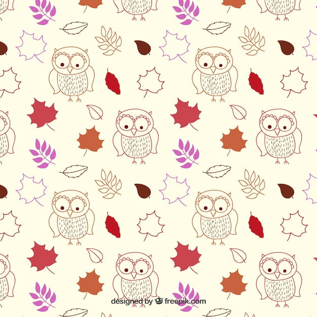 hand drawn atumnal pattern Free Vector
