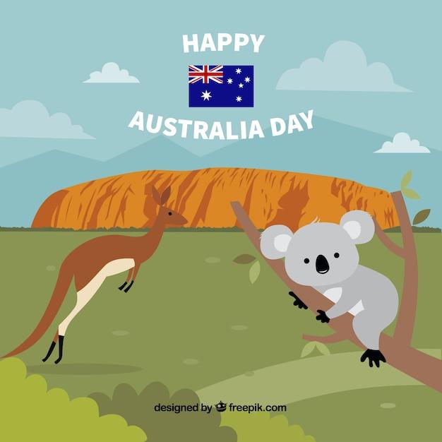 Hand drawn australia day background Free Vector
