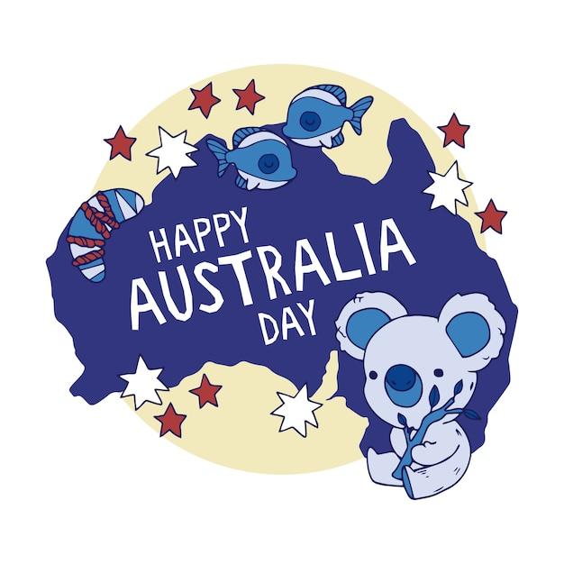 Hand drawn australia day concept Free Vector