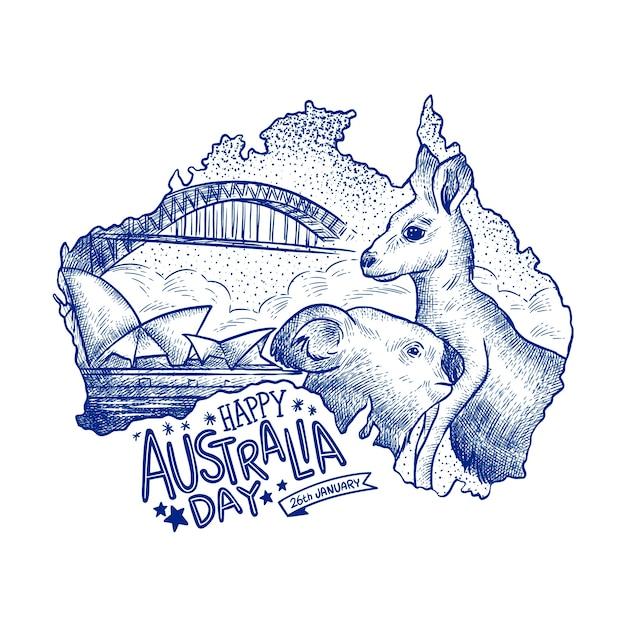 Concetto disegnato a mano di giorno dell'australia Vettore gratuito