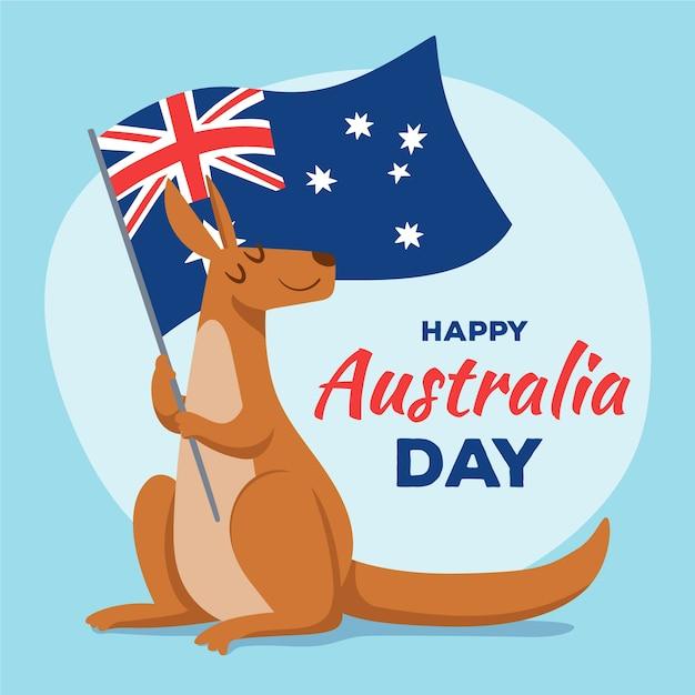 Giorno disegnato a mano dell'australia con canguro e bandiera Vettore gratuito