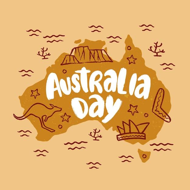 Giorno disegnato a mano in australia Vettore gratuito