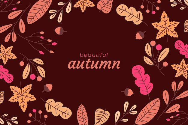 手描きの秋の葉の背景 無料ベクター
