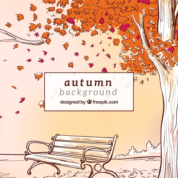 Hand drawn autumn background with bench a tree