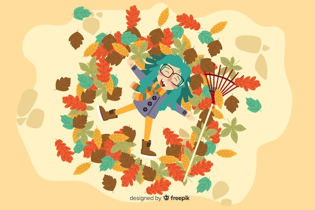 Hand drawn autumn background with girl Free Vector