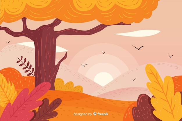 Hand drawn autumn background with landscape Free Vector