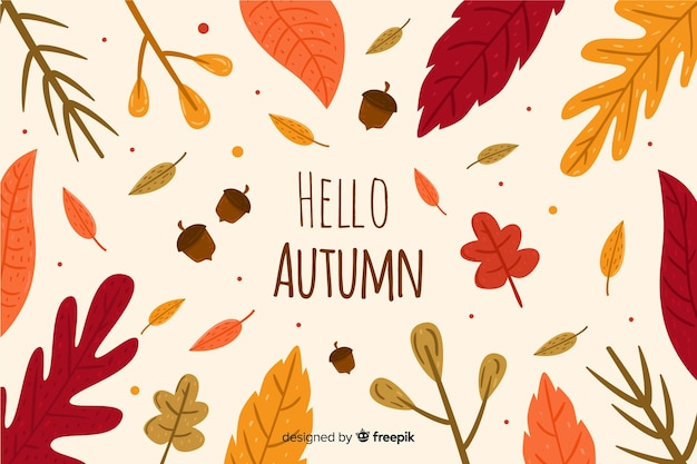 Hand drawn autumn background with leaves Free Vector