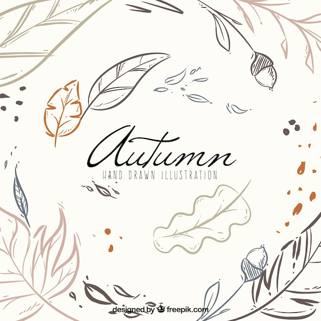 Hand drawn autumn background with modern style Free Vector