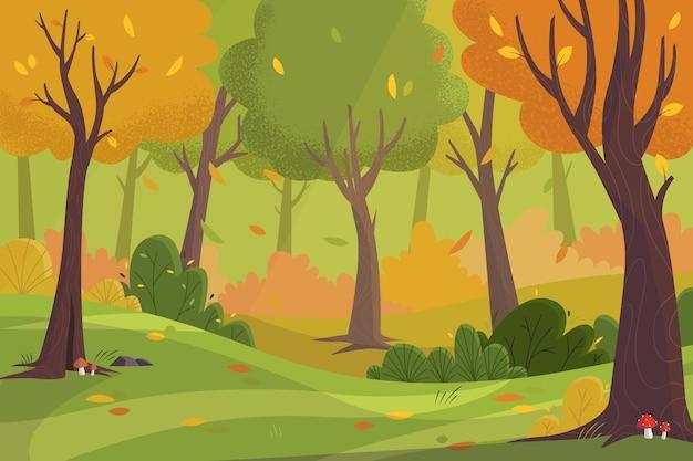 手描きの秋の背景 Premiumベクター