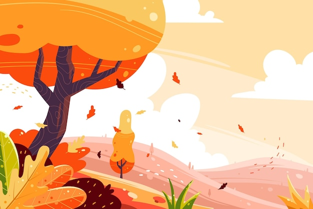 Hand drawn autumn background Free Vector