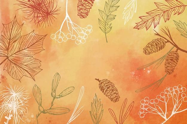 Hand drawn autumn background Free Vector