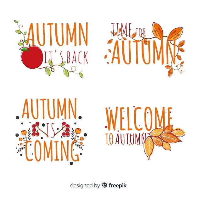 Hand drawn autumn badge collection Free Vector