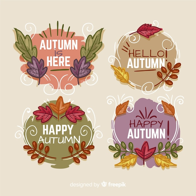 Hand drawn autumn badges collection Free Vector